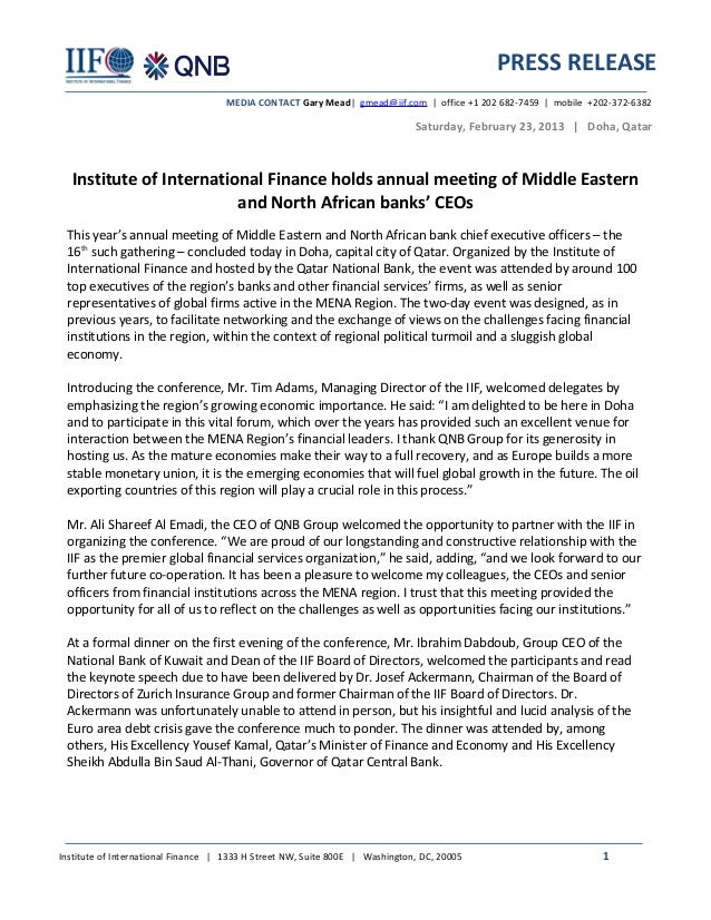 PRESS RELEASE                                    MEDIA CONTACT Gary Mead| gmead@iif.com | office +1 202 682-7459 | mobile ...