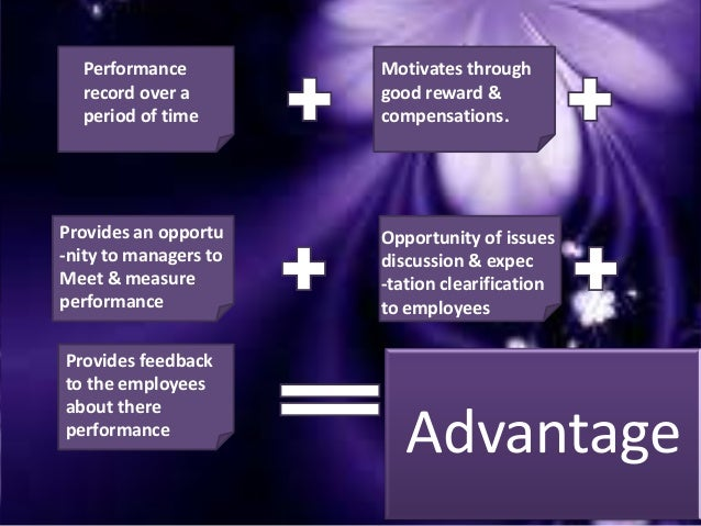 Disadvantage Negative experience If done unappropriately Time consuming, specially for managers. If done incorrect, can be...
