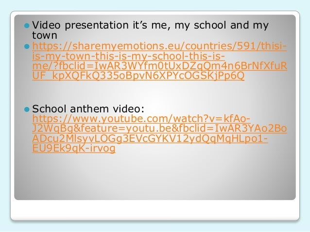 ⚫ Video presentation it's me, my school and my town ⚫ https://sharemyemotions.eu/countries/591/thisi- is-my-town-this-is-m...