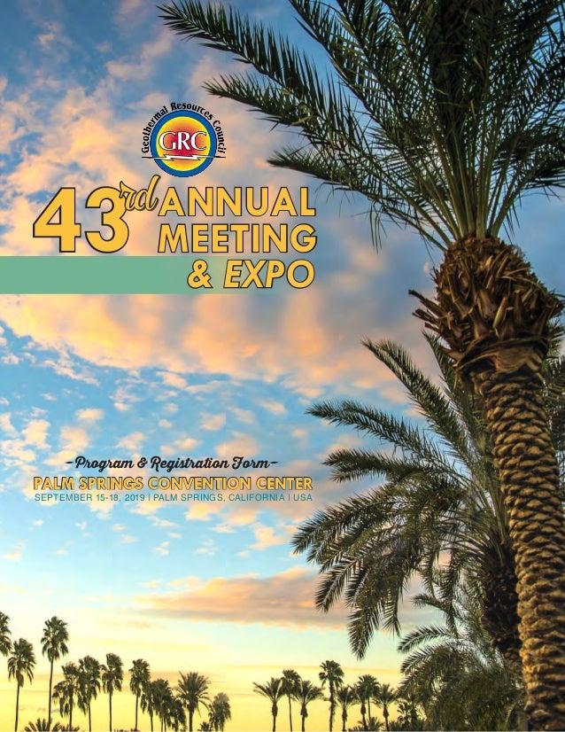 PALM SPRINGS CONVENTION CENTER SEPTEMBER 15-18, 2019   PALM SPRINGS, CALIFORNIA   USA -Program & Registration Form- & EXPO...