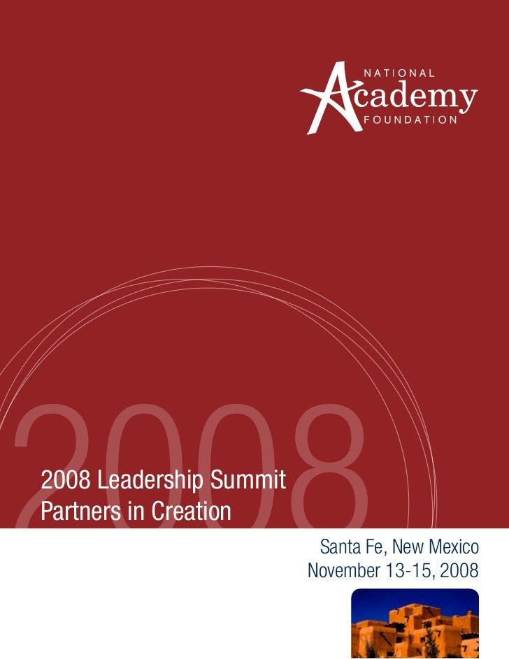 20082008 Leadership SummitPartners in Creation                          Santa Fe, New Mexico                         Novem...