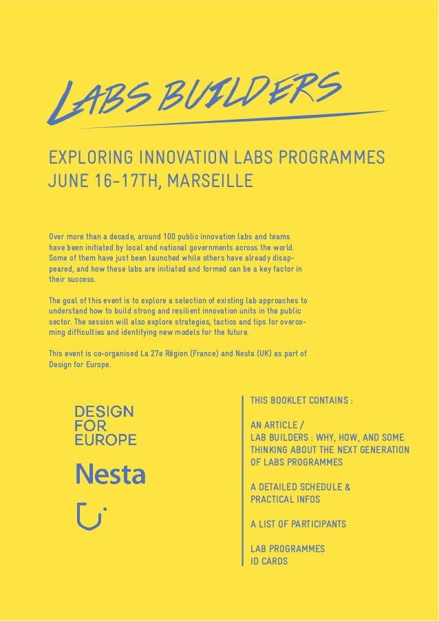 EXPLORING INNOVATION LABS PROGRAMMES JUNE 16-17TH, MARSEILLE DETAILED SCHEDULE - LIST OF PARTICIPANTS - PRACTICAL INFORMAT...