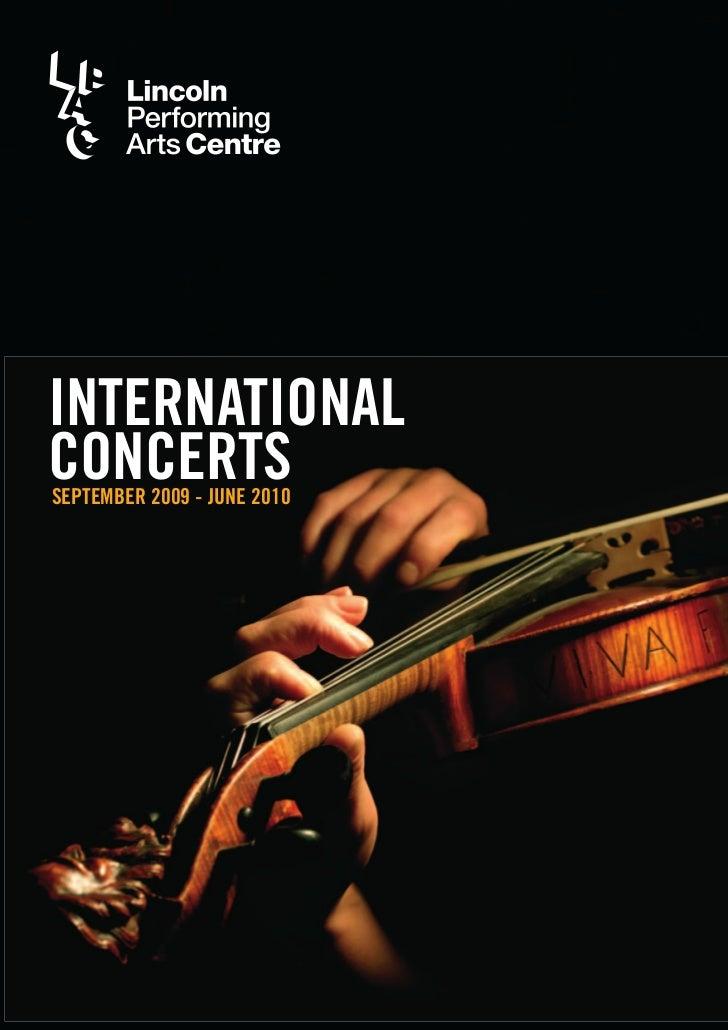INTERNATIONAL CONCERTS SEPTEMBER 2009 - JUNE 2010