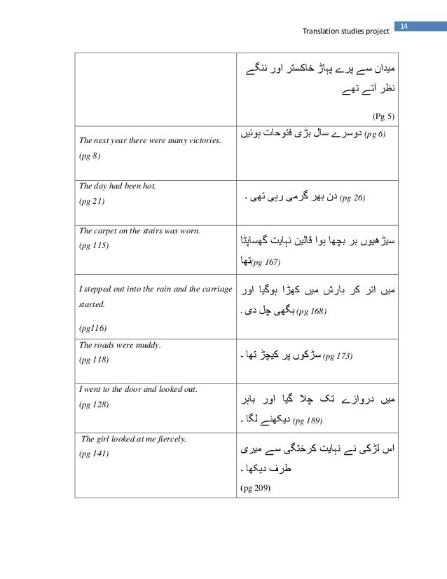 14Translation studies project(Pg 5)The next year there were many victories.(pg 8)(pg 6)The day had been hot.(pg 21) (pg 26...