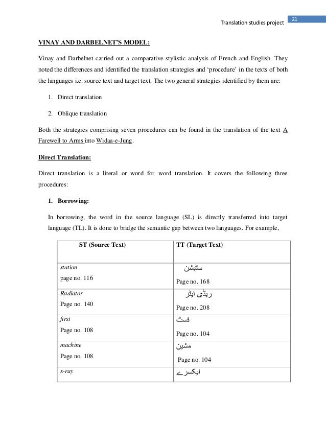 21Translation studies projectVINAY AND DARBELNET'S MODEL:Vinay and Darbelnet carried out a comparative stylistic analysis ...