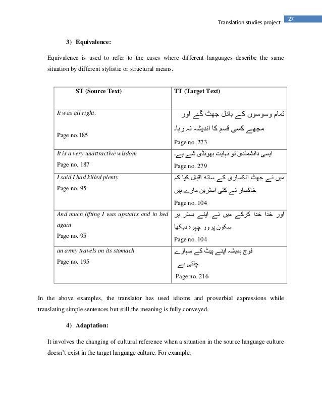 27Translation studies project3) Equivalence:Equivalence is used to refer to the cases where different languages describe t...