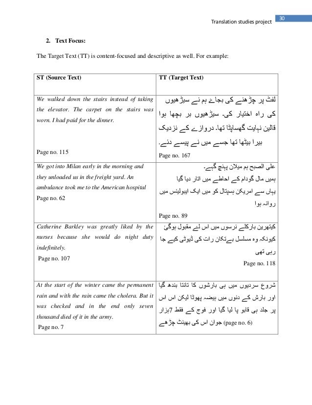 30Translation studies project2. Text Focus:The Target Text (TT) is content-focused and descriptive as well. For example:ST...