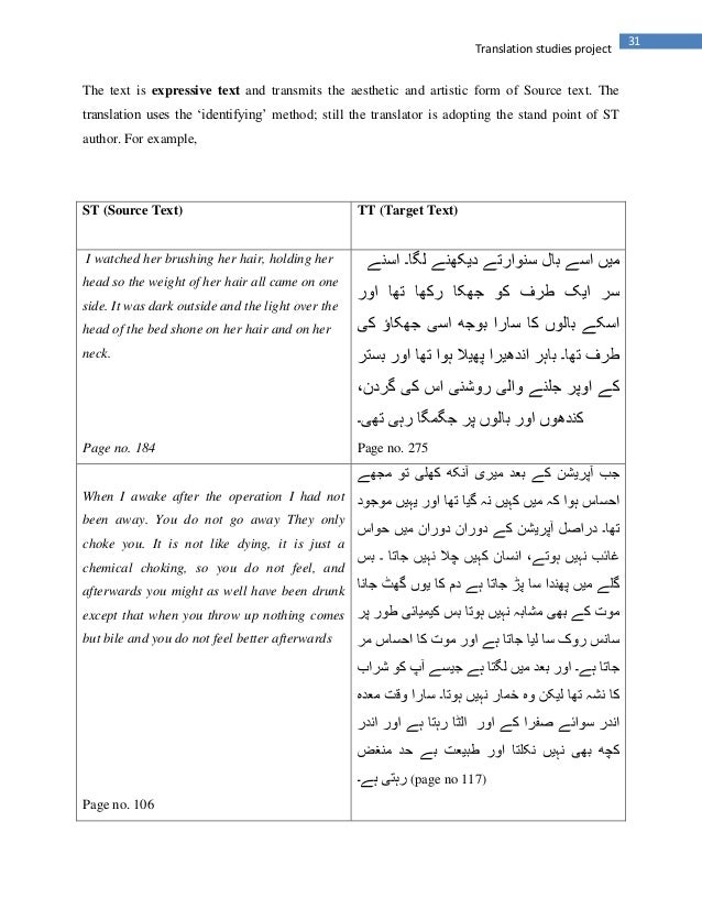 31Translation studies projectThe text is expressive text and transmits the aesthetic and artistic form of Source text. The...