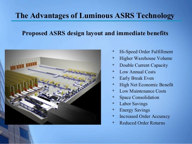 cango asrs implementation Assuming 10 % growth rate per year on ($15,000,000+$10,000,000) ie on books, customized mp3,cd,dvd sales $25,00,000 so, based on the above cost-benefit analysis, we can safely assume that implementation of new asrs system would lead to overall benefits for cango and provide a quick cash payback in roi, improved order picking accuracy and lean.