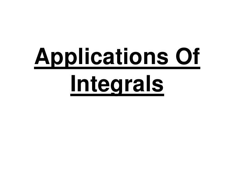 Applications Of Integrals<br />
