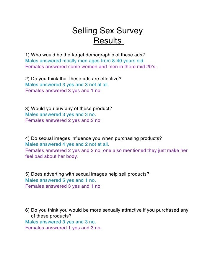 Selling Sex Survey                           Results1) Who would be the target demographic of these ads?Males answered mos...