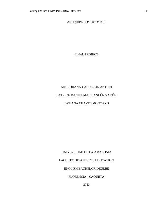 AREQUIPE LOS PINOS IGR – FINAL PROJECT 1 AREQUIPE LOS PINOS IGR FINAL PROJECT NINI JOHANA CALDERON ANTURI PATRICK DANIEL M...