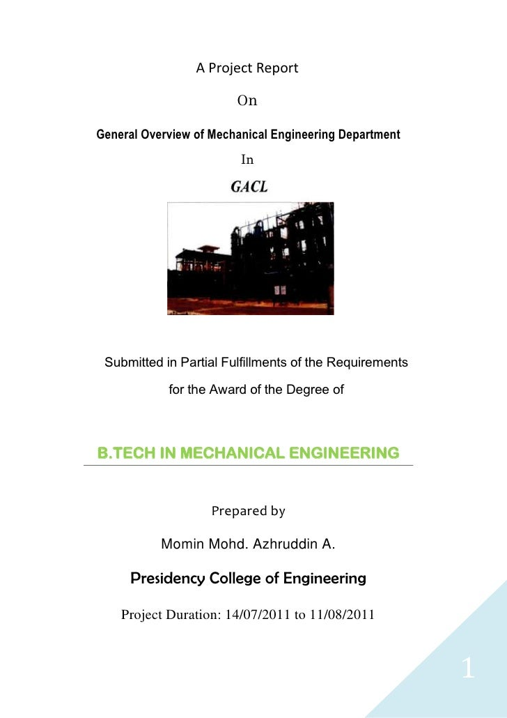 A Project Report                        OnGeneral Overview of Mechanical Engineering Department                         In...