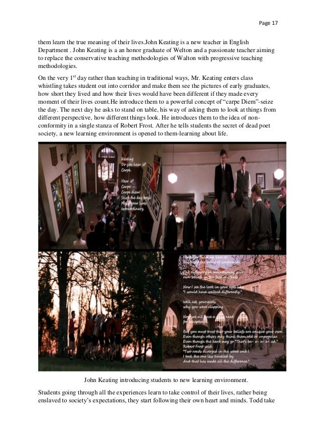 the importance of honor in the movie dead poets society Use as a way to introduce key themes in the film dead poets society  excellence, and honor  review the importance of claims,.