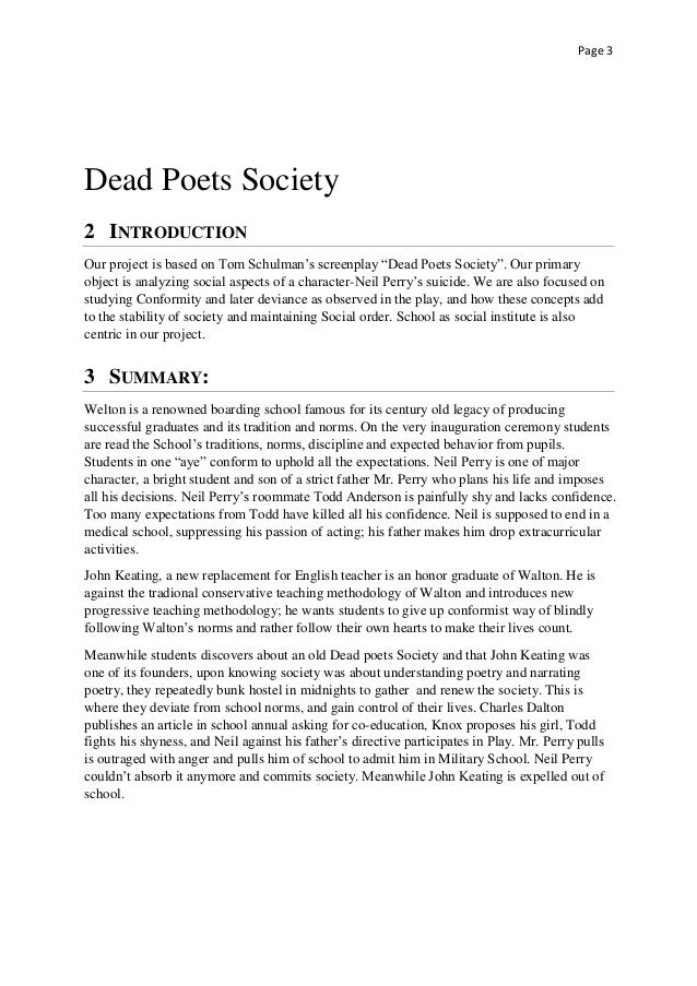Dead poets society analysis term paper