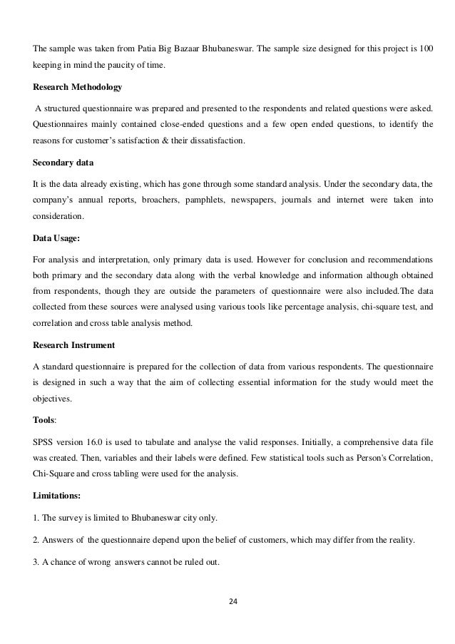 survey questionnaire on big bazaar View a study on buying behavior of customers in big bazaar from mba sm5152 at nit trichy research project report on a study on buying behavior of customers in big  questionnaire.