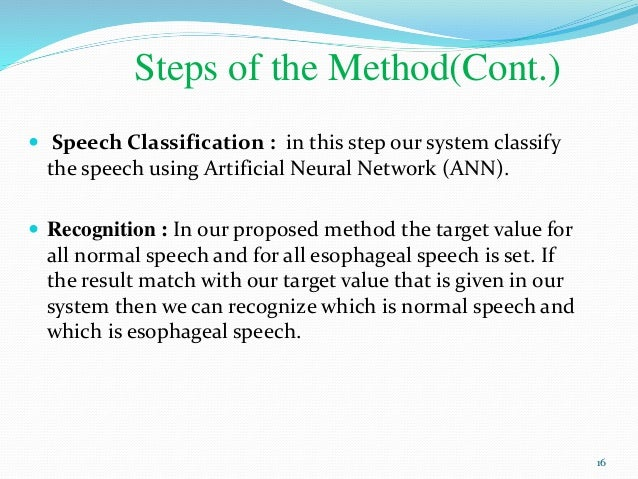 esophageal speech recognition using artificial neural