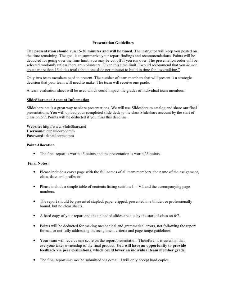 Presentation assignment sheet