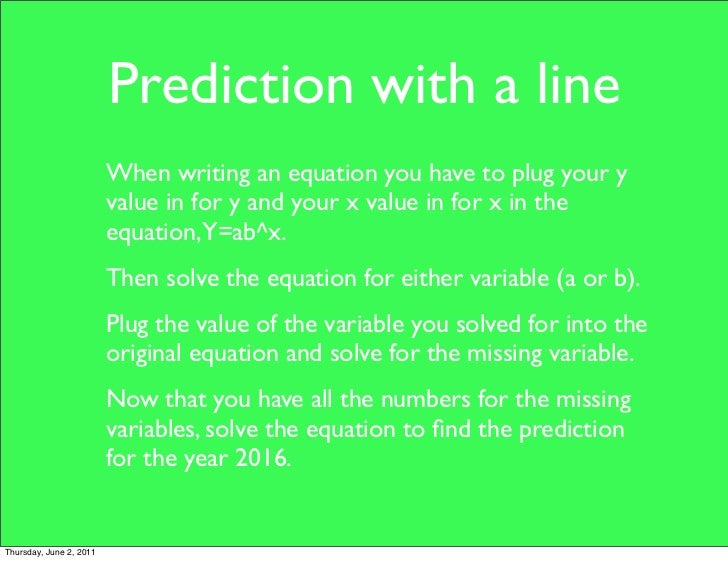 How to write a prediction equation in algebra 2