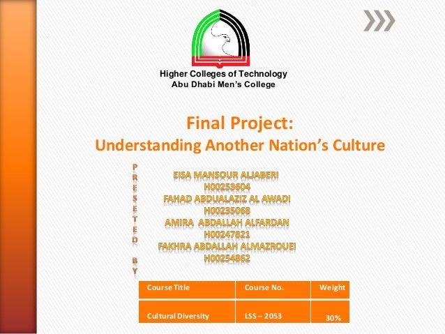 Higher Colleges of Technology            Abu Dhabi Men's College                 Final Project:Understanding Another Natio...