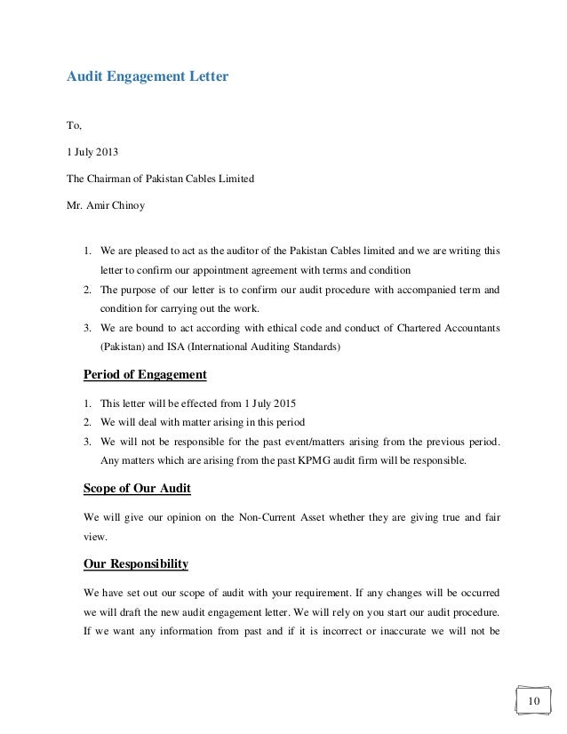 10 10 audit engagement letter