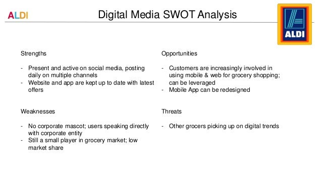 swot analysis of aldi About wikiwealthcom wikiwealthcom is a collaborative research and analysis website that combines the sum of the world's knowledge to produce the highest quality research reports for over 6,000 stocks, etfs, mutual funds, currencies, and commodities.