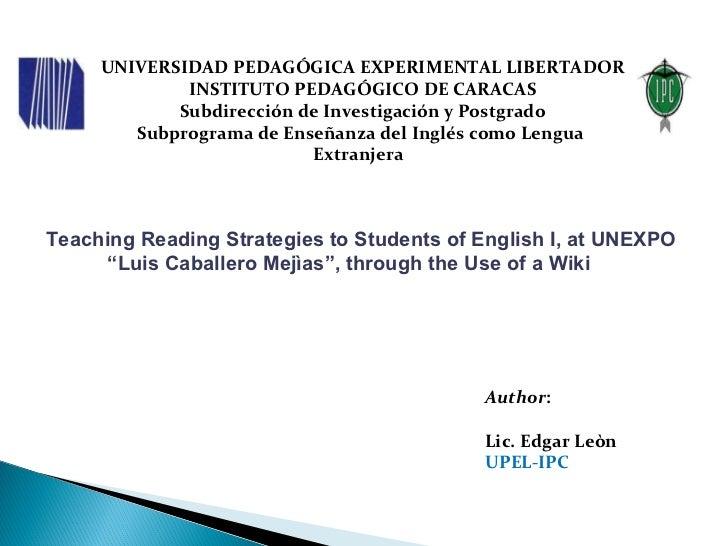 UNIVERSIDAD PEDAGÓGICA EXPERIMENTAL LIBERTADOR INSTITUTO PEDAGÓGICO DE CARACAS Subdirección de Investigación y Postgrado S...