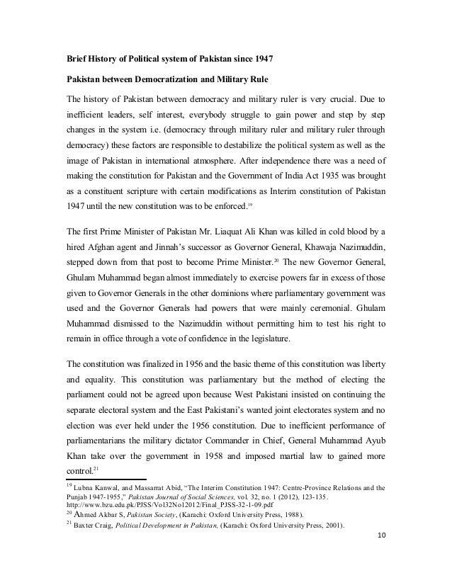 Short essay on democracy in pakistan since 1947