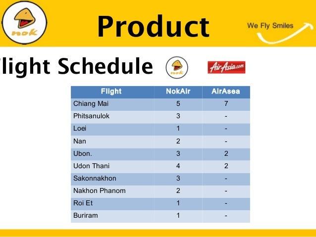 ProductFlight ScheduleFlight NokAir AirAseaChiang Mai 5 7Phitsanulok 3 -Loei 1 -Nan 2 -Ubon. 3 2Udon Thani 4 2Sakonnakhon ...