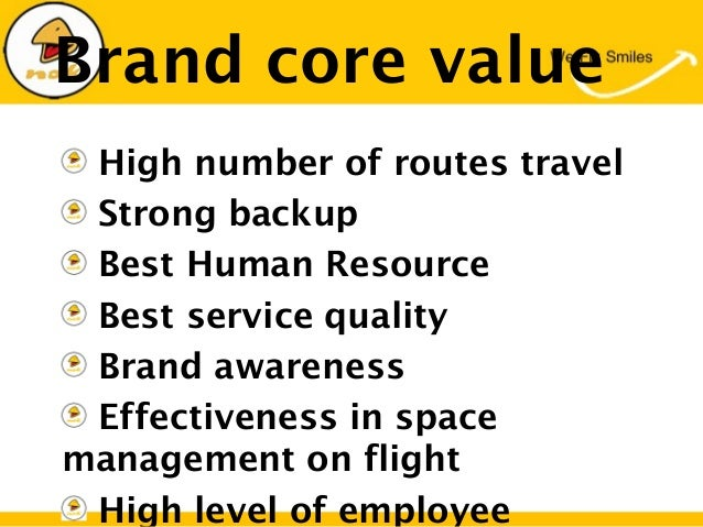 Brand core valueHigh number of routes travelStrong backupBest Human ResourceBest service qualityBrand awarenessEffectivene...