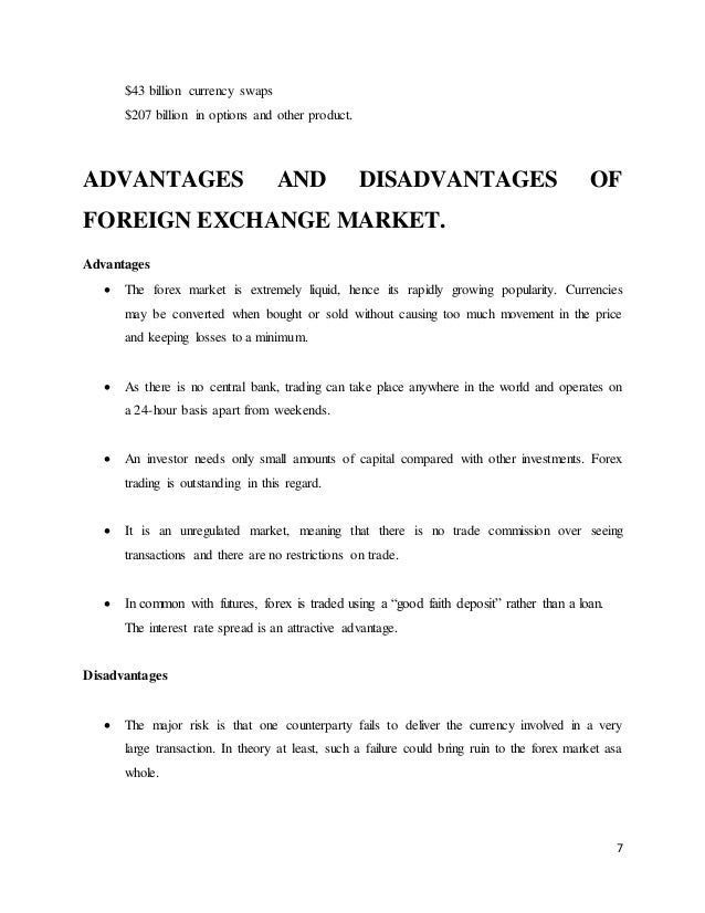 Disadvantages forex market