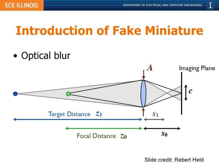Introduction of Fake Miniature <ul><li>Optical blur </li></ul>Slide credit: Rebert Held