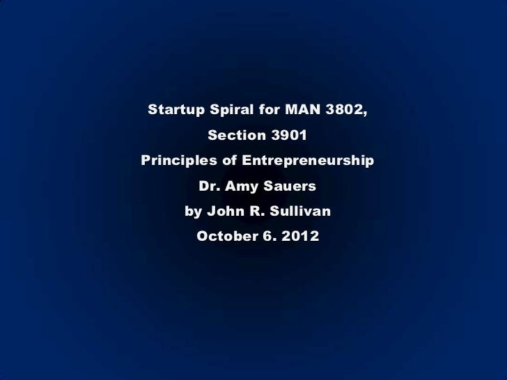 Startup Spiral for MAN 3802,        Section 3901Principles of Entrepreneurship       Dr. Amy Sauers     by John R. Sulliva...