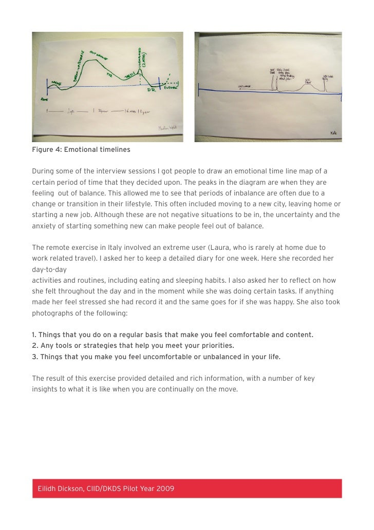 Figure 4: Emotional timelines   During some of the interview sessions I got people to draw an emotional time line map of a...