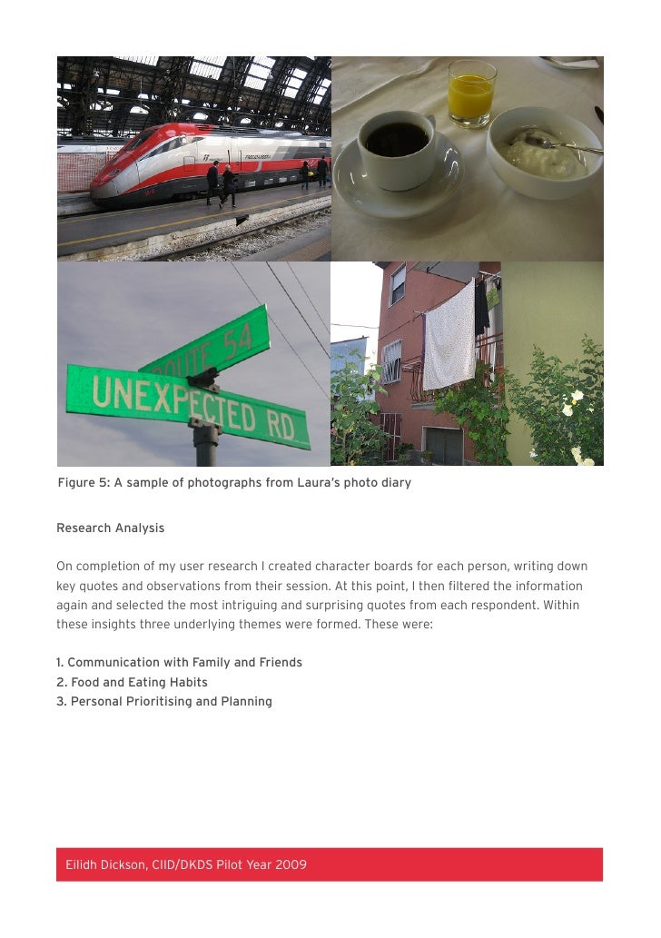 Figure 5: A sample of photographs from Laura's photo diary   Research Analysis   On completion of my user research I creat...