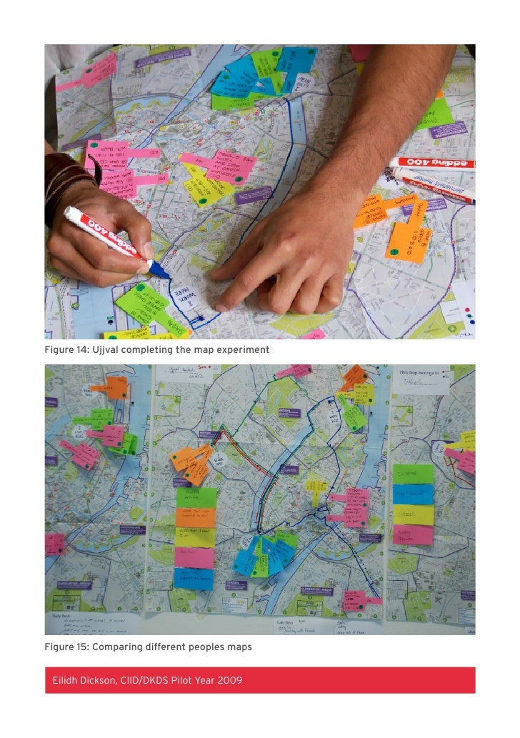 Figure 14: Ujjval completing the map experiment     Figure 15: Comparing different peoples maps    Eilidh Dickson, CIID/DK...