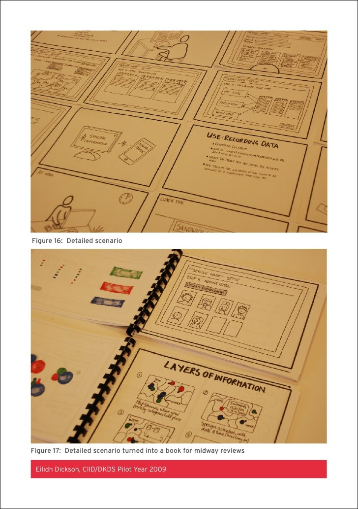 Figure 16: Detailed scenario     Figure 17: Detailed scenario turned into a book for midway reviews   Eilidh Dickson, CIID...