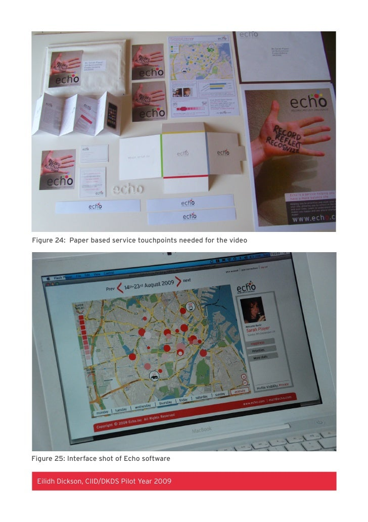 Figure 24: Paper based service touchpoints needed for the video     Figure 25: Interface shot of Echo software    Eilidh D...