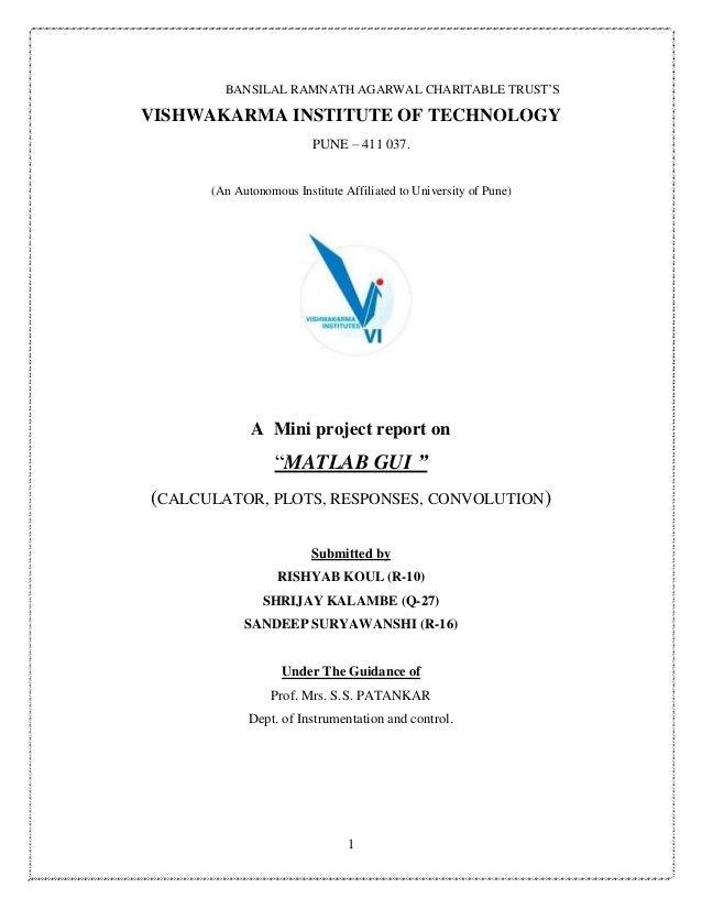 1 BANSILAL RAMNATH AGARWAL CHARITABLE TRUST'S VISHWAKARMA INSTITUTE OF TECHNOLOGY PUNE – 411 037. (An Autonomous Institute...