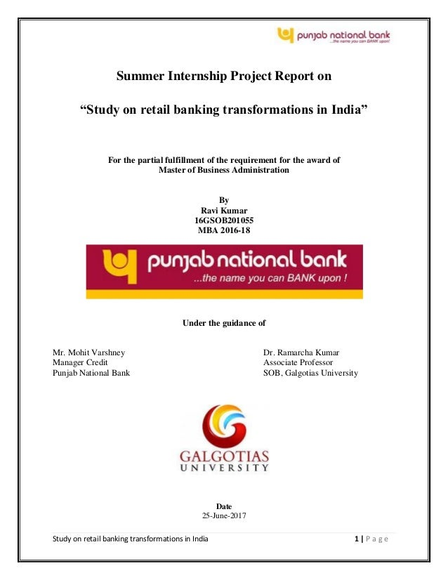 Study On Retail Banking Transformations In India Pnb
