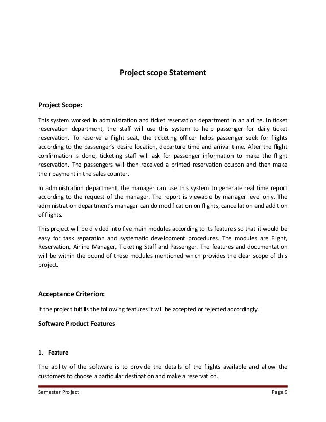 Home construction project scope statement