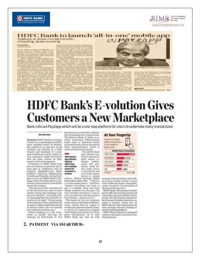 report on hdfc bank We have audited the accompanying standalone financial statements of hdfc bank limited (the bank), which comprise the balance sheet as at 31 march, 2015, the statement of profit and loss, the cash flow statement for the year then ended and a summary of the significant accounting policies and.