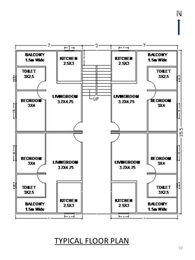 4 storey residential building floor plan for Two storey residential house floor plan