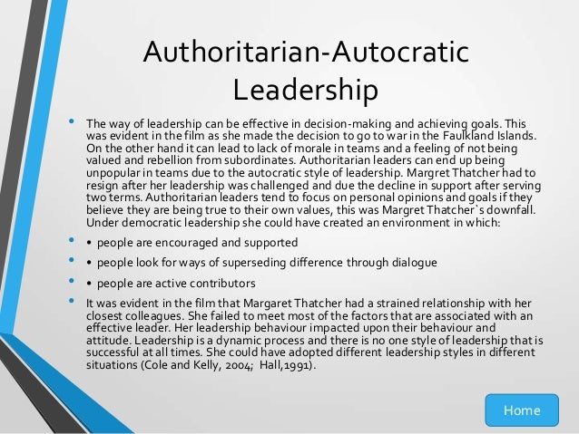authoritarian or autocratic leadership style Definition: autocratic leadership is a management style wherein one person controls all the decisions and takes very little inputs from other group membersautocratic leaders make choices or decisions based on their own beliefs and do not involve others for their suggestion or advice.