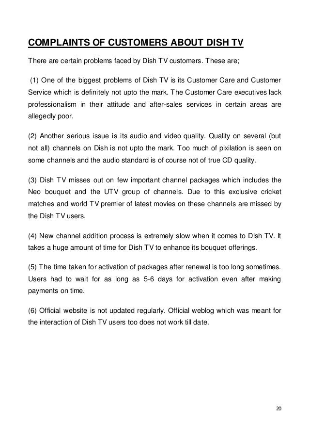 A study of customer satisfaction from various DTH service