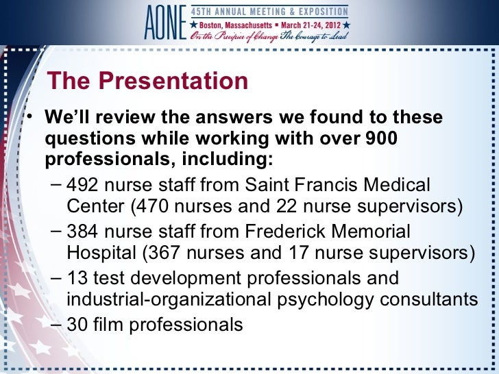 AONE Prophecy Healthcare Presentation 2012