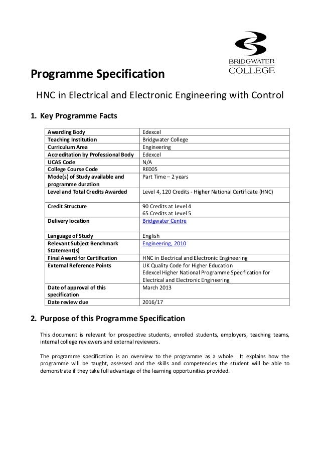 hnc electrical engineering coursework