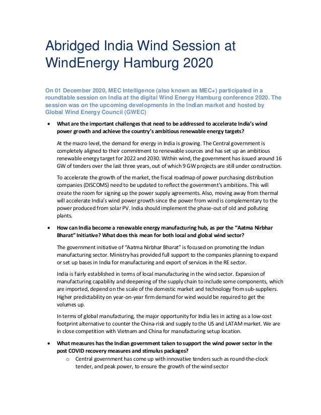 Abridged India Wind Session at WindEnergy Hamburg 2020 On 01 December 2020, MEC Intelligence (also known as MEC+) particip...