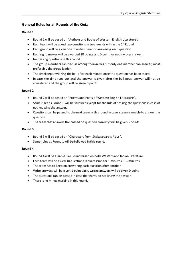 Quiz on English Language and Literature