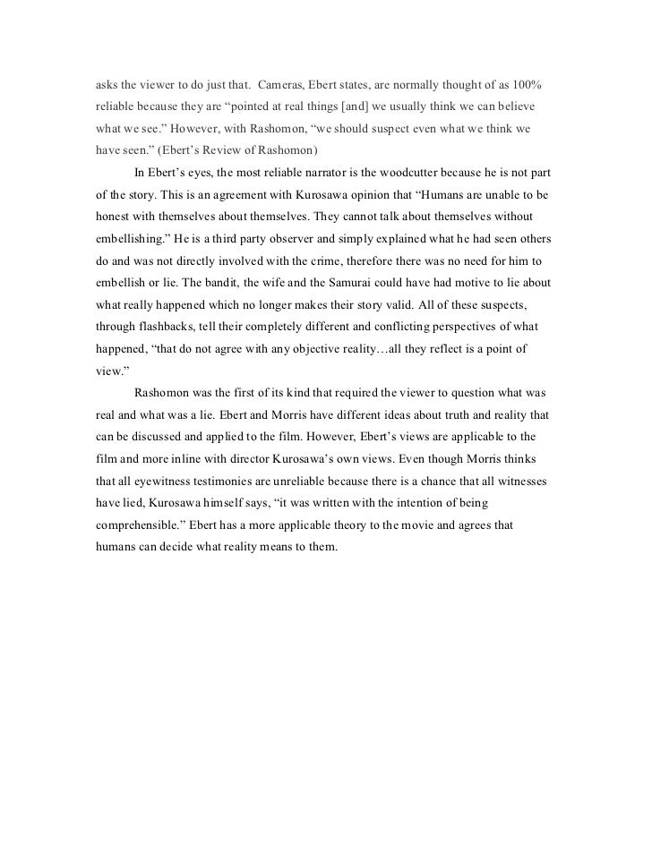 Essays about rashomon